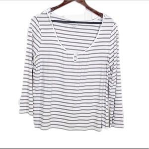 Kenneth Cole  Striped LS T-shirt Hoodie Large